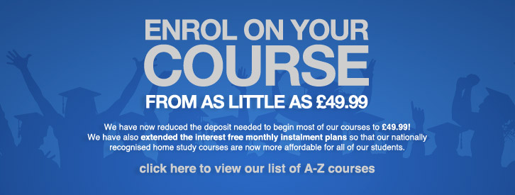 Enrol Distance Learning Courses for £49